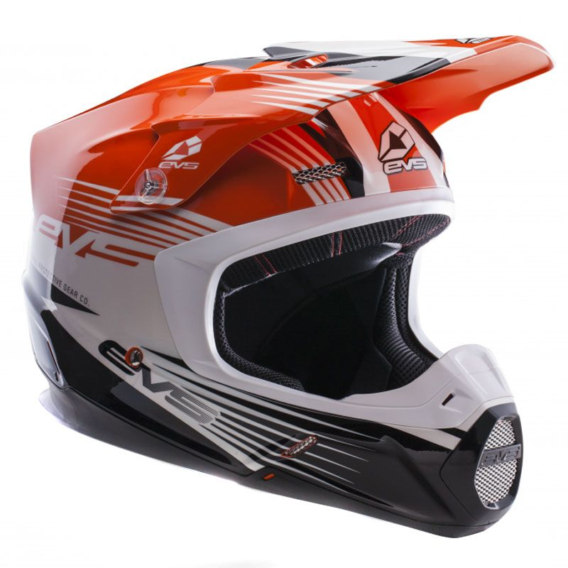 Casque Cross Evs T5 Works Orange White Black