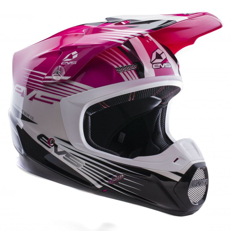 Casque Cross Evs T5 Works Pink White Black