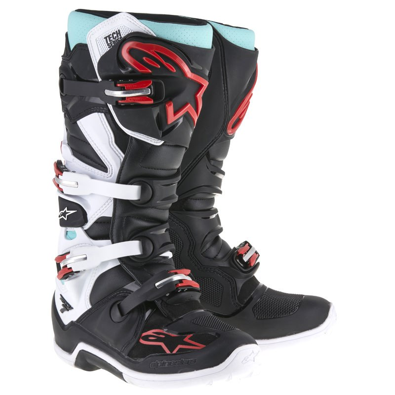 bottes cross alpinestars tech 7 black turquoise white red 2018 enduro. Black Bedroom Furniture Sets. Home Design Ideas