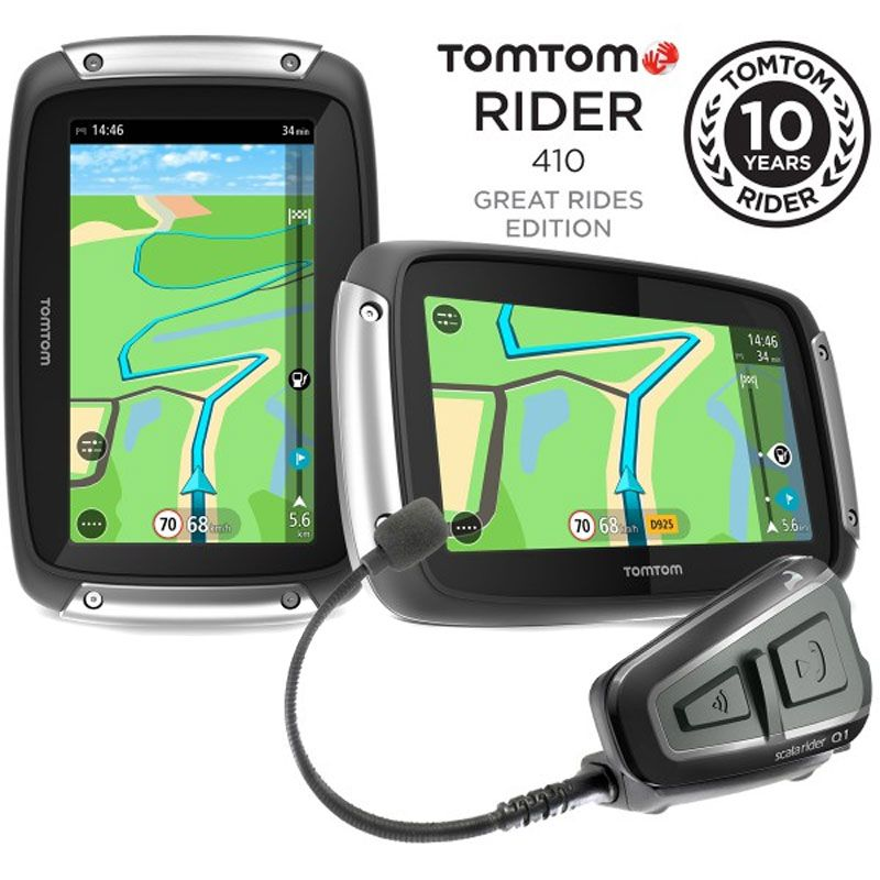 Gps Tomtom Rider 410 Great Rides Edition + Intercom Cardo Scala Rider