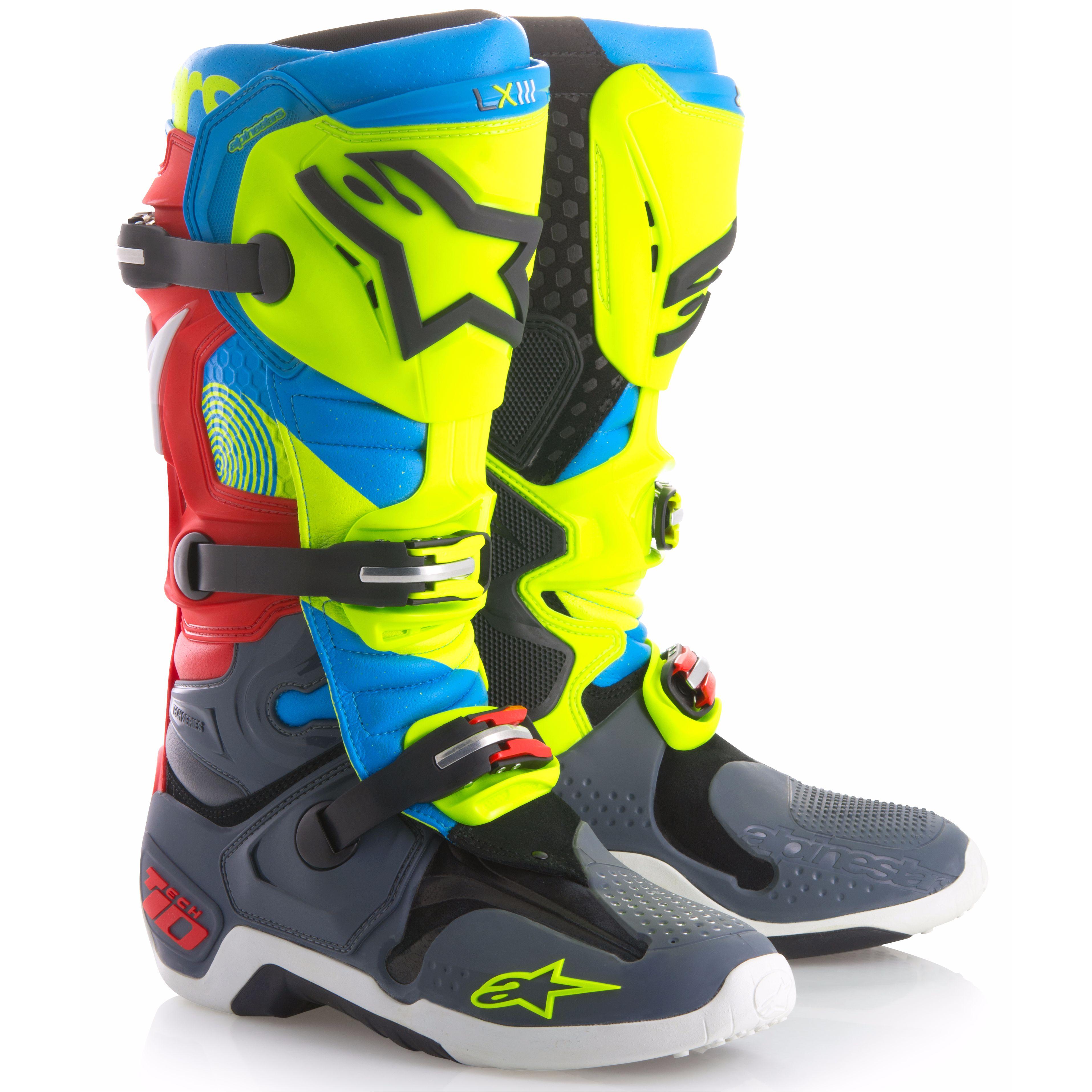 Bottes Cross Alpinestars Tech 10 - Edition Limitée Union - Bleu Jaune Fluo Rouge -