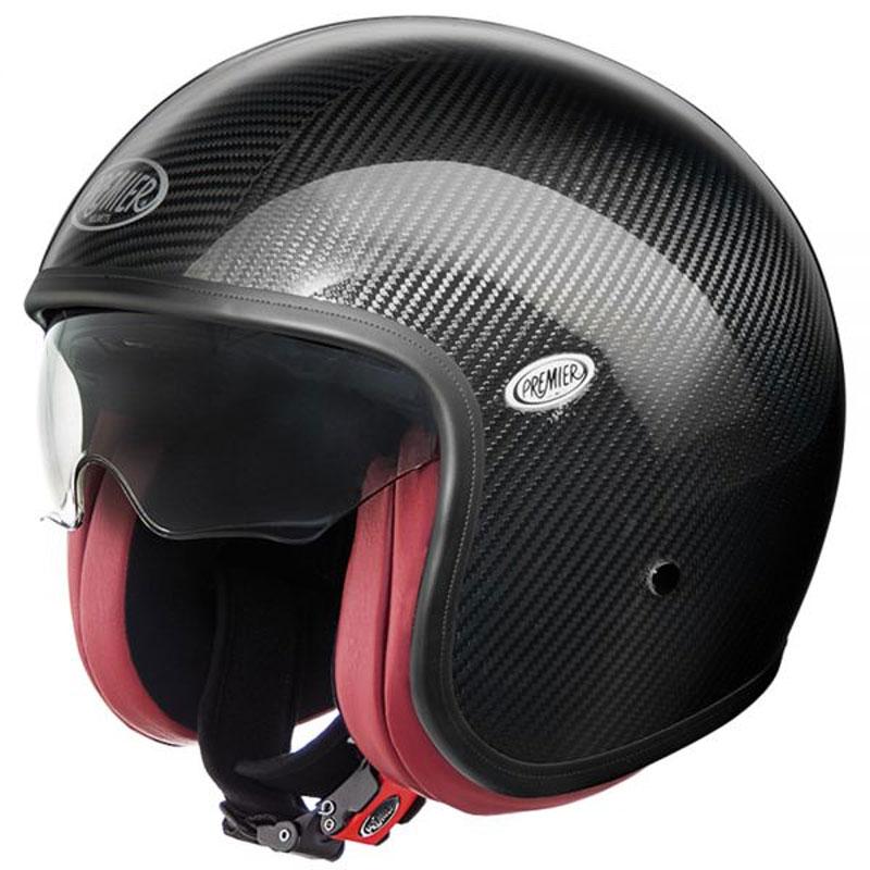 Casque premier vintage carbon interieur rouge casque for Interieur rouge