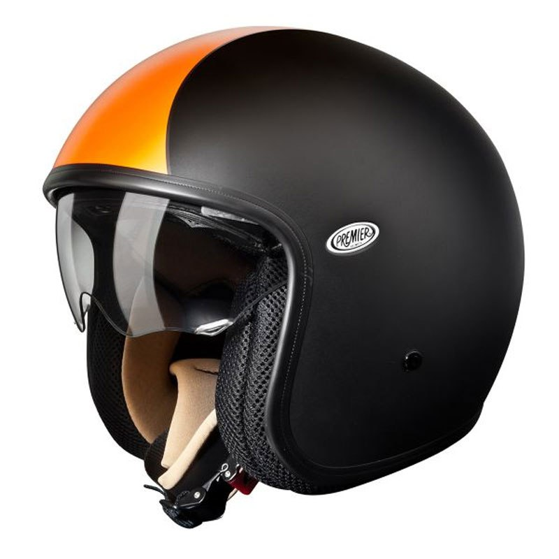Casque Premier VINTAGE - NOIR MAT ORANGE
