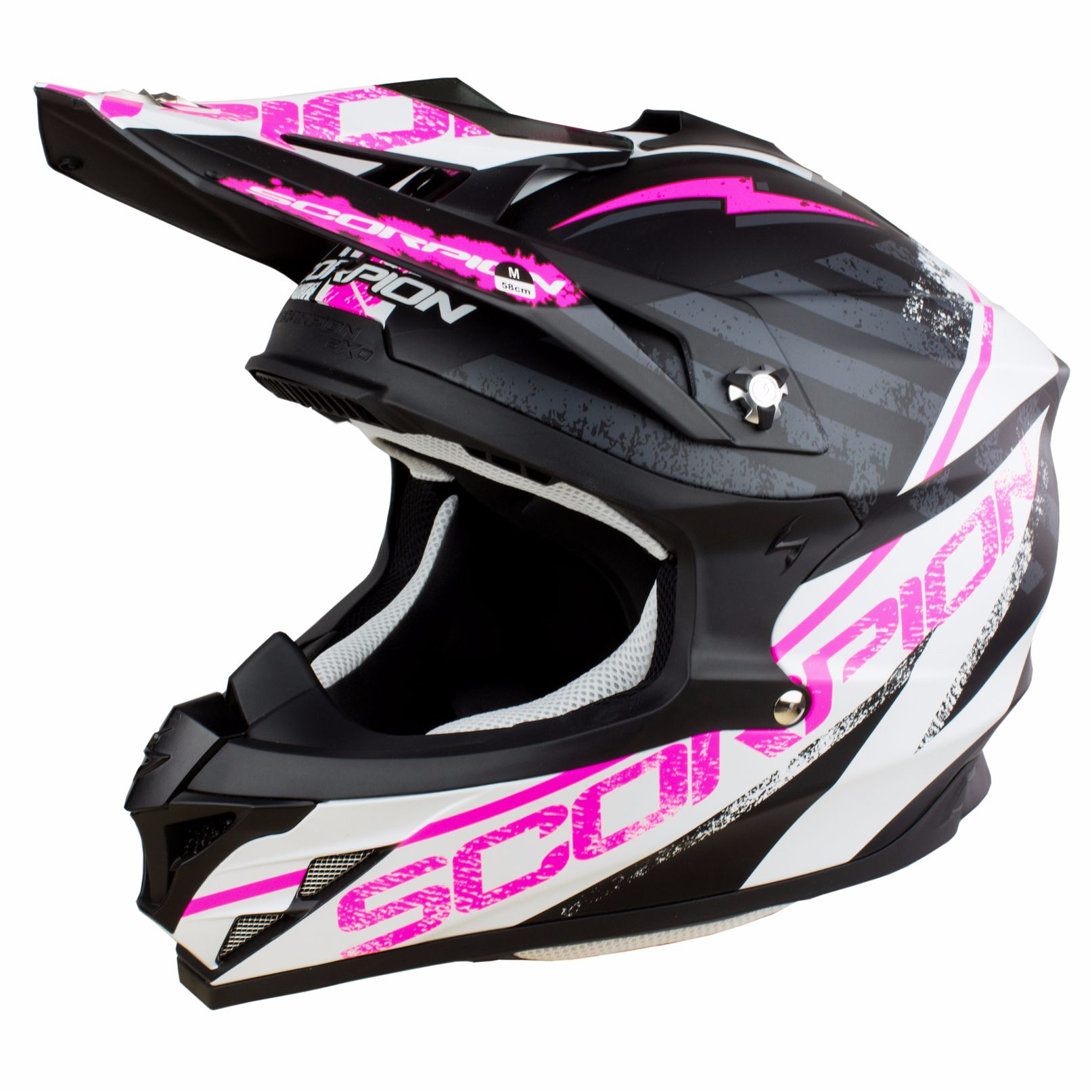 Casque Cross Scorpion Exo Vx-15 Evo Air - Gamma Noir Blanc Rose