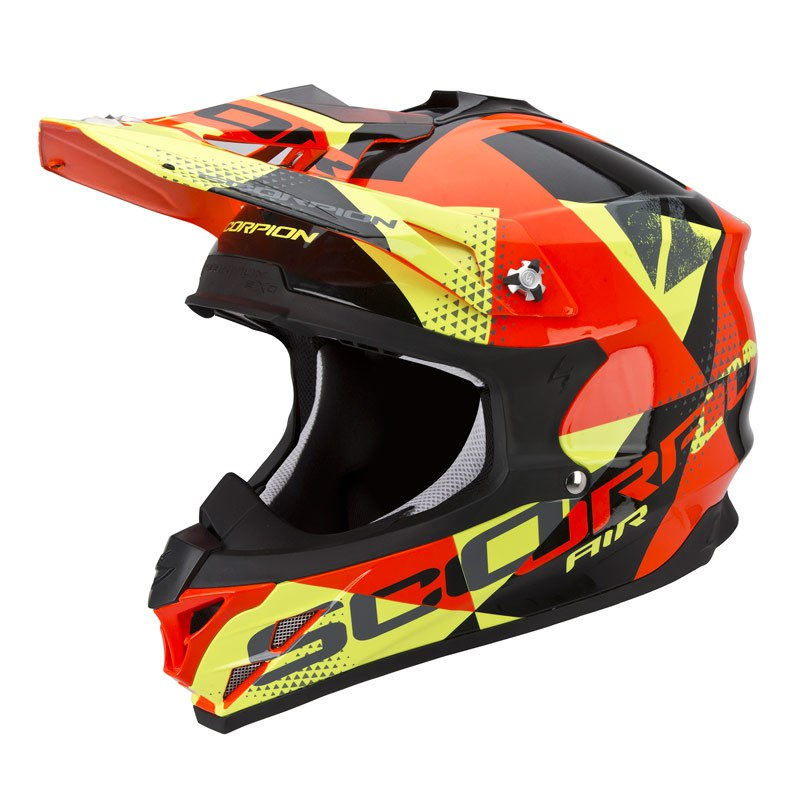 Casque Cross Scorpion Exo Vx-15 Evo Air - Akra Noir Orange Jaune