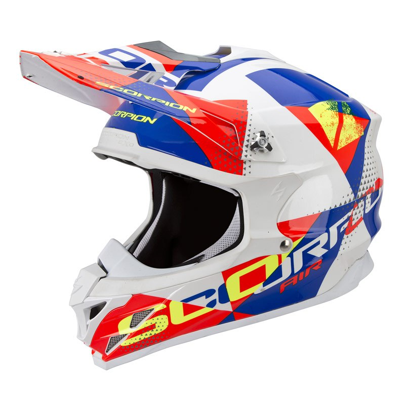 Casque Cross Scorpion Exo Vx-15 Evo Air - Akra Blanc Rouge Bleu