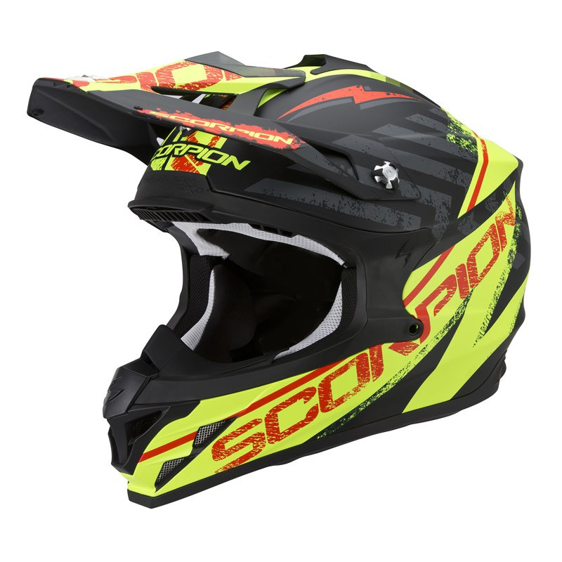 Casque Cross Scorpion Exo Vx-15 Evo Air - Gamma Noir Jaune Fluo