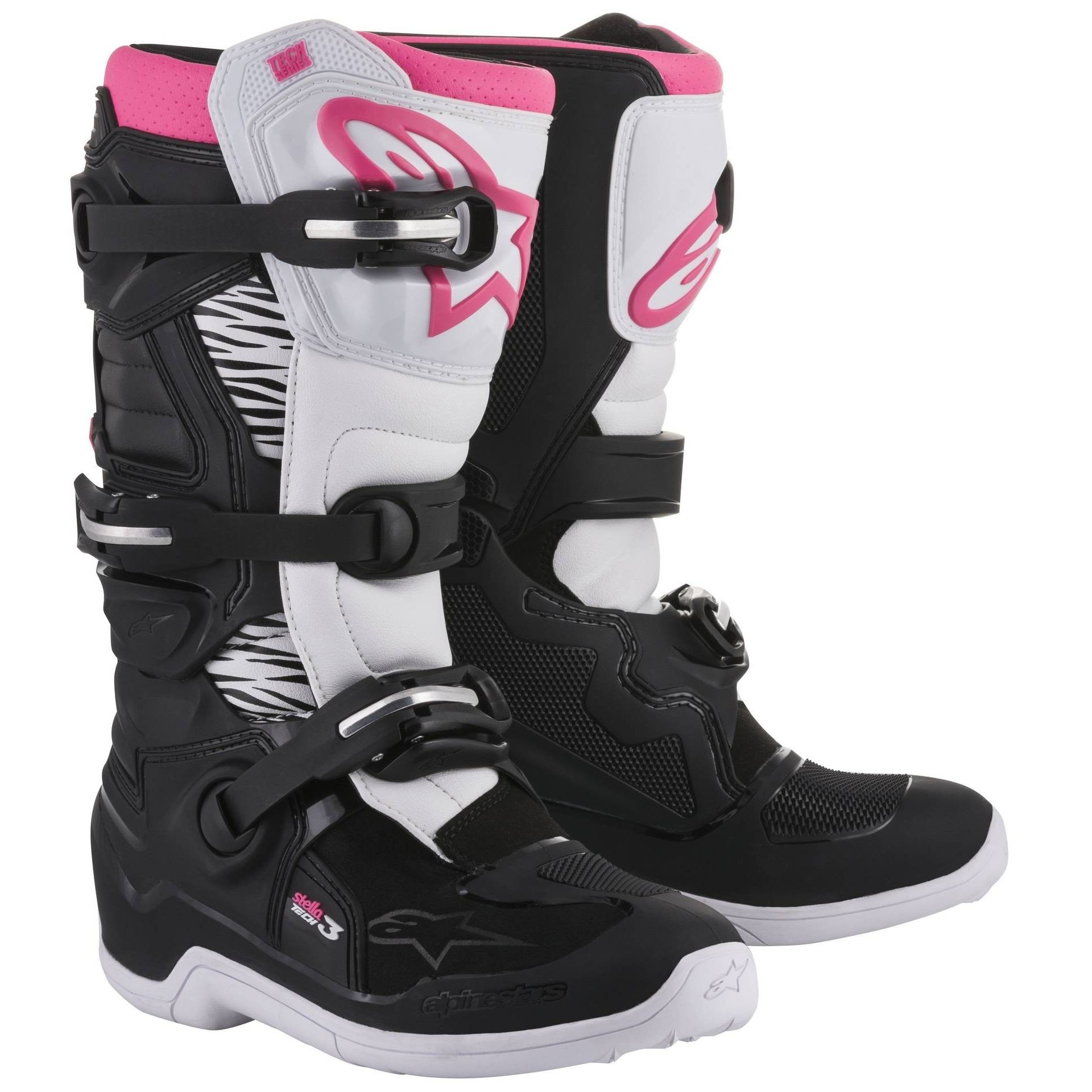 bottes cross alpinestars stella tech 3 black white pink 2018 bottes cross. Black Bedroom Furniture Sets. Home Design Ideas
