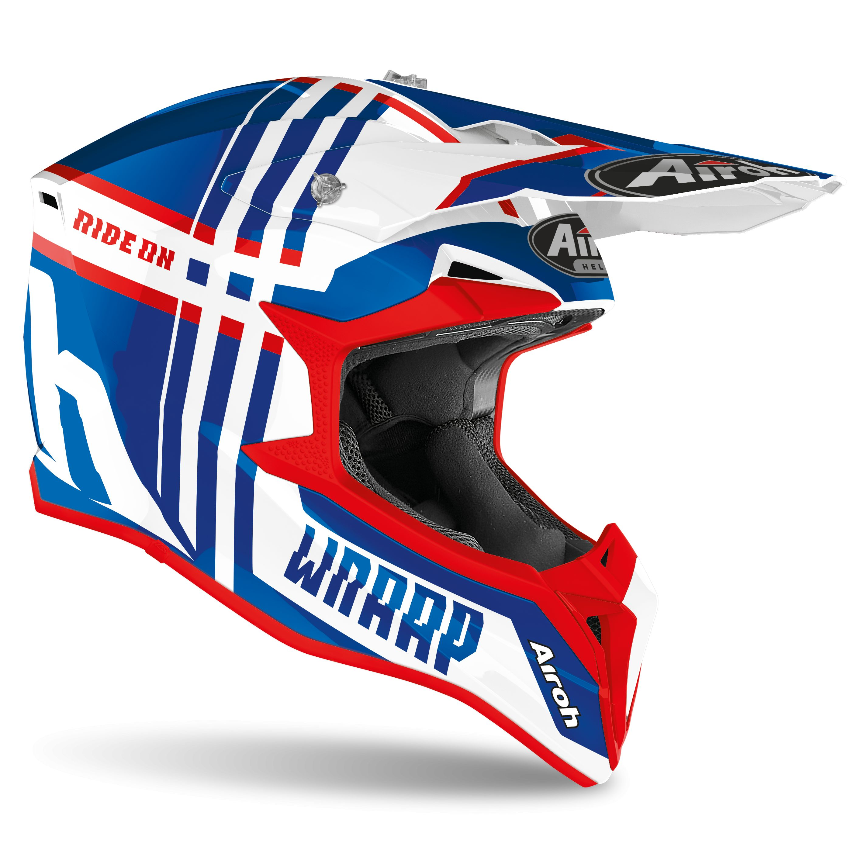 Casque cross Airoh WRAAP - BROKEN - BLUE RED GLOSS 2021