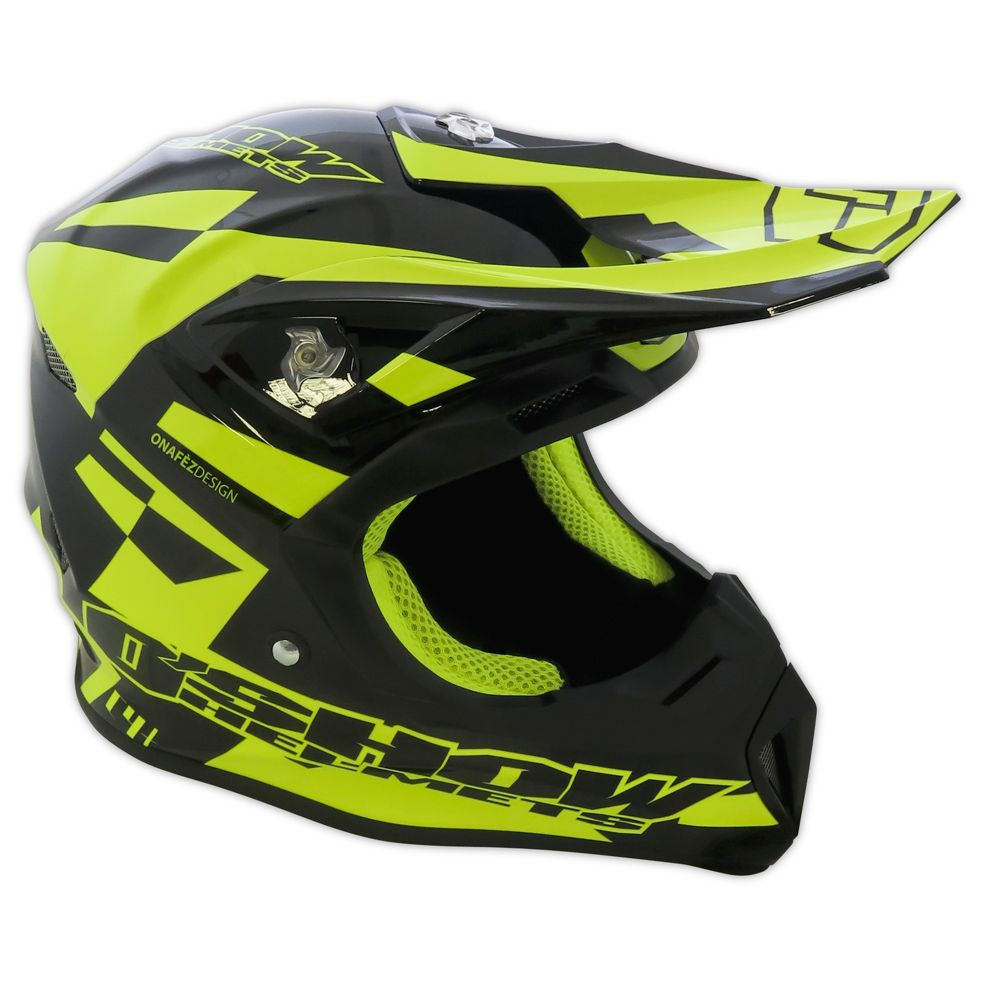 Casque cross FM Racing O'SHOW C4+ BLACK / YELLOW 2018