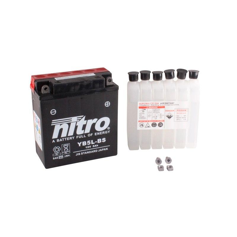 Batterie Nitro Yb5l-bs Ouvert Avec Pack Acide Type Acide