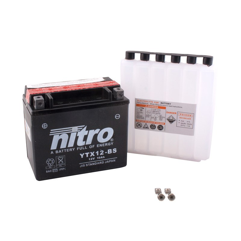 Batterie Nitro YTX12-BS AGM ouvert avec pack acide Type Acide - YTX12-BS -N-