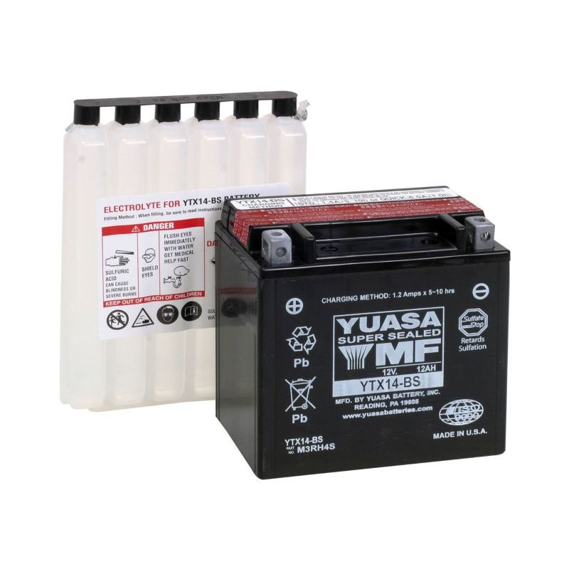 Batterie Yuasa YTX14-BS AGM ouverte Type Acide avec pack acide inclus