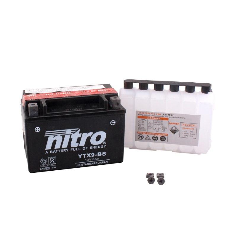 Batterie Nitro Ytx9-bs Agm Ouvert Avec Pack Acide Type Acide